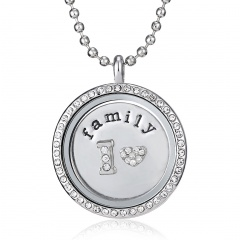 Love Mom Family Colorful Crystal Photo Frame Locket Pendant Necklace Jewelry Family