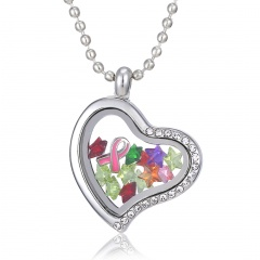 Heart Crystal Floating Round Charms Necklace Locket Living Memory Jewelry Gift Heart Ribbon
