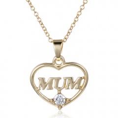 Mom Grandma 18K White Gold Filled Rhinestone Heart Necklace Mother's Day Gift MUM