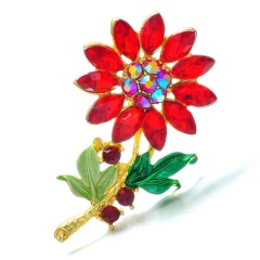 Rinhoo Flower Brooch Pins Crystal brooch for women plant Jewelry brooches wedding gift jewelry Alloy Vintage Style Accessories red