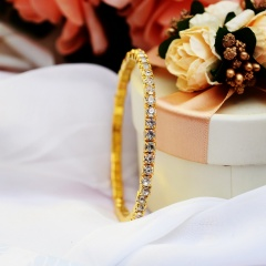 Rihoo Hot Fashion 1 Row Rhinestone Wedding Bridal Bracelet Bangle gold silver Wristband Women Jewelry gift fashion gold