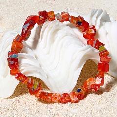 RINHOO Multicolor Natural Stone Charm Bracelets & Bangles Beaded Stretch Elastic Bracelet Femme for Women Female Jewelry red
