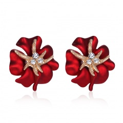 Alloy Flower with Crystal Gold Plated Stud Earring Jewelry Red