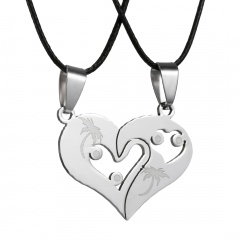 Heart Couple Necklace Set Stainless Steel Jewelry Set Heart