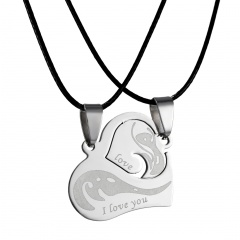2Pcs Couples Stainless Steel Heart Pendant Necklace I Love you