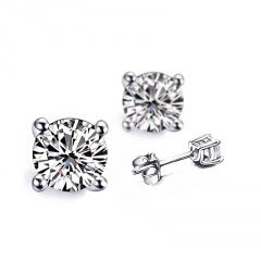 Fashion Elegant Silver Gemstone Simple Stud Earrings Silver