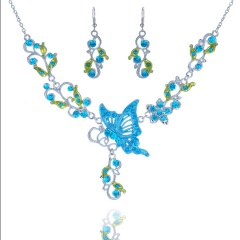 Fashionable Rhinestone With Alloy Necklace And Earring Jewelry Set Butterfly 6 Colors Big Jewelry Set Blue