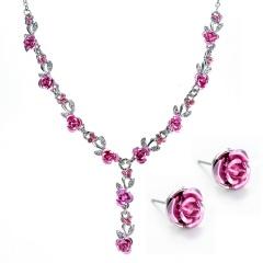 Fashion Metal Flower Shape Necklace Earring Jewelry Set Pink