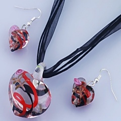 Fashion Heart Shape With Small Flower Two Colors Inside Pendant Necklace Lampwork Glass Necklace With Earring Jewelry Set Red