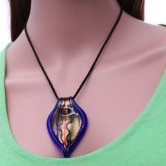 Fashion Charm Murano Lampwork Glass Leaf Pendant Necklace Jewelry Gift Purple