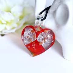 Fashion Heart Flower Lampwork Murano Glass Necklace Pendant Jewelry Hot Red