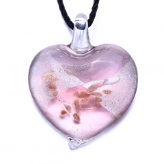 Fashion Heart Flower Lampwork Murano Glass Necklace Pendant Jewelry Hot Pink