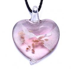 Fashion Heart Flower Lampwork Murano Glass Necklace Pendant Jewelry Hot Pink