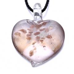 Fashion Heart Flower Lampwork Murano Glass Necklace Pendant Jewelry Hot Khaki