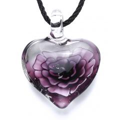 Chic Glass Heart Drop Flower Inside Lampwork Pendant Necklace Women Jewelry Gifts Purple