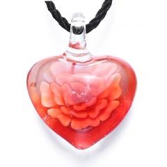 Chic Glass Heart Drop Flower Inside Lampwork Pendant Necklace Women Jewelry Gifts Red