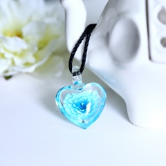 Chic Glass Heart Drop Flower Inside Lampwork Pendant Necklace Women Jewelry Gifts Blue