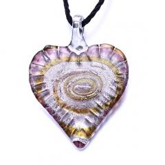 Fashion Women Jewelry Glass Heart Drop Flower Inside Lampwork Pendant Necklace Gifts Heart Pink