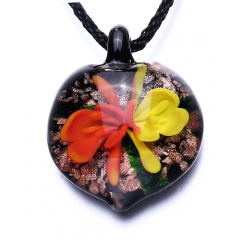 Fashion Women Lampwork Glass Gold Heart Pendant Necklace Murano Jewelry Party Gift Yellow