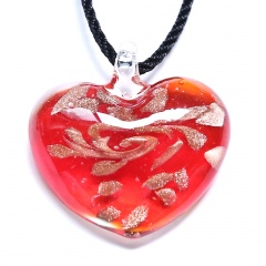 Classical Heart Lampwork Glass Pendant Necklace Black Rope Short Chain Necklace Jewelry Red