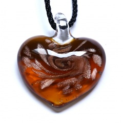 Classical Heart Lampwork Glass Pendant Necklace Black Rope Short Chain Necklace Jewelry Coffee