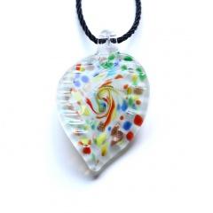 Fashion Leaf Heart Starfish Murano Glass Geometric Flower Pendant Necklace Women Jewelry Gift Leaf White