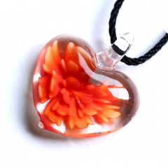 Trendy  Geometric Stripe Heart Murano Glass Flower Pendant Necklace Women Jewelry Gift Orange
