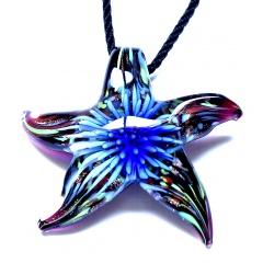 Fashion Starfish Waterdrop Murano Glass Geometric Flower Pendant Necklace Women Jewelry Gift Starfish Blue