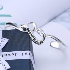 Rinhoo Trendy Jewelry Silver Gold Letter Engraved Cuff Bracelets Bangles Friendship Bracelet Open Bangles for Women Gifts bangle1