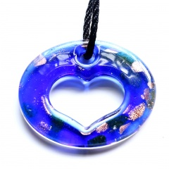 Fashion Murano Glass Hollow Heart Geometric Flower Pendant Necklace Women Jewelry Gift Blue