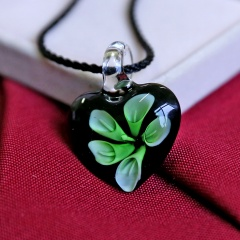Fashion Women Heart Flower Murano Glass Geometric Pendant Necklace Jewelry Gift Green