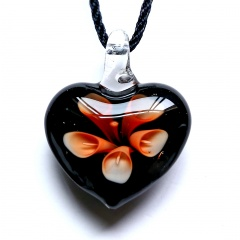 Fashion Women Heart Flower Murano Glass Geometric Pendant Necklace Jewelry Gift Orange