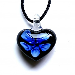 Fashion Women Heart Flower Murano Glass Geometric Pendant Necklace Jewelry Gift Blue