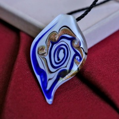 Spiral Pattern Murano Glass Geometric Flower Pendant Necklace Women Jewelry Gift Royal Blue