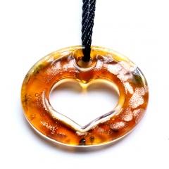 Fashion Murano Glass Hollow Heart Geometric Flower Pendant Necklace Women Jewelry Gift Orange