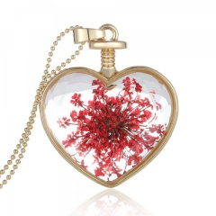 Natural Dried Flower Gold Heart Glass Locket Pendant Necklace Long Sweater Chain Red flower