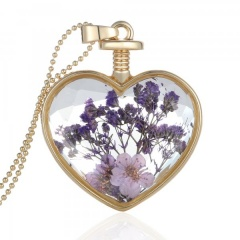 Natural Dried Flower Gold Heart Glass Locket Pendant Necklace Long Sweater Chain Purple flower