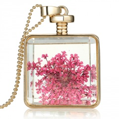 Natural Dried Flower Square Glass Locket Pendant Necklace Sweater Chain Jewelry Pink