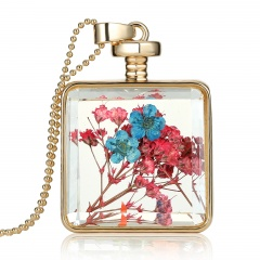 Natural Dried Flower Square Glass Locket Pendant Necklace Sweater Chain Jewelry Red and blue
