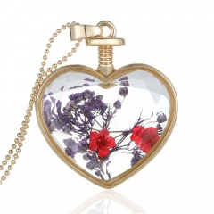 Natural Dried Flower Gold Heart Glass Locket Pendant Necklace Long Sweater Chain Purple and red flower