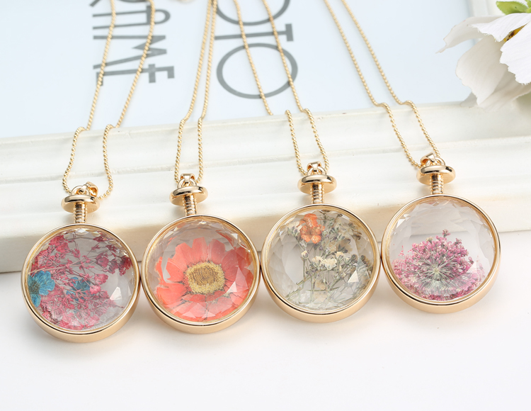 Real natural dried flower round living memory glass pendant necklace real natural dried flower round living memory glass pendant necklace jewelry new ebay aloadofball Images