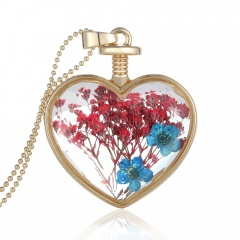 Natural Dried Flower Gold Heart Glass Locket Pendant Necklace Long Sweater Chain Red and blue flower