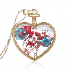 Natural Dried Flower Gold Heart Glass Locket Pendant Necklace Long Sweater Chain Blue flower