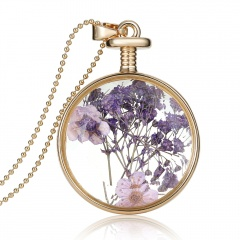 Natural Dried Flower Real Round Glass Locket Pendant Necklace Jewelry Gift New Purple Lavandula