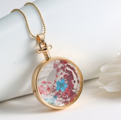 Natural Dried Flower Real Round Glass Locket Pendant Necklace Jewelry Gift New Blue+red