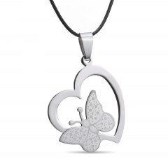 Fashion Hollow Love Butterfly Stainless Steel Pendant Necklace Heart