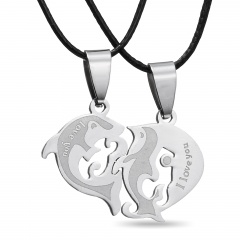 Fashion Hollow Love Butterfly Stainless Steel Pendant Necklace Dolphin