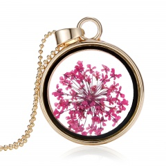 New Natural Real Dried Flower Resin Round Glass Floating Locket Pendant Necklace Hot pink shivering