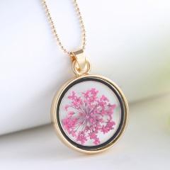 Round photo frame dried flower specimen necklace (Pendant size: 4*2.7cm, chain length: 60cm) F