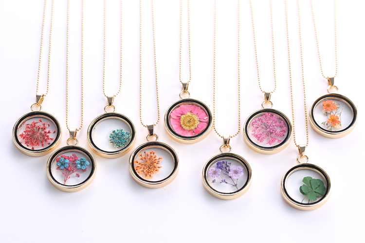 Handmade natural dried flower inside glass locket necklace long handmade natural dried flower inside glass locket necklace long sweater chain ebay mozeypictures Choice Image